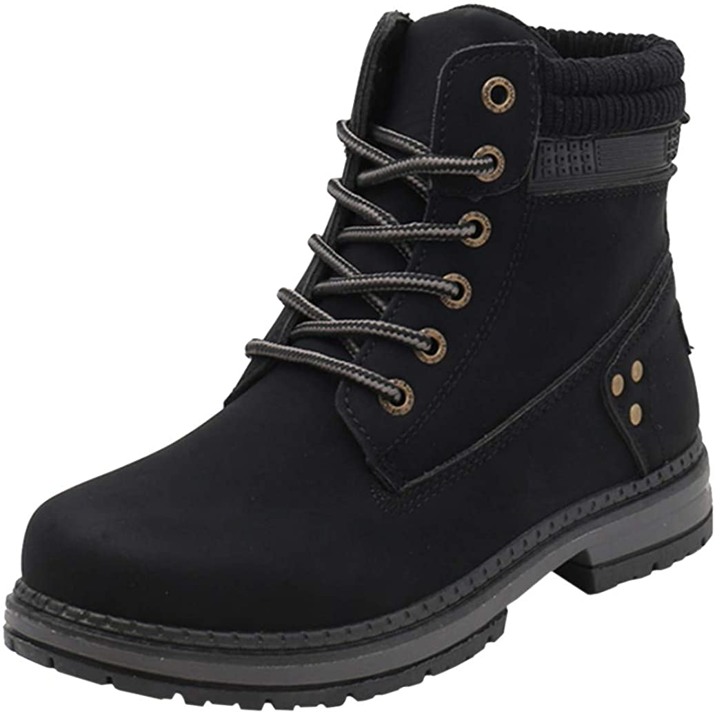 DADAWEN Women's Round Toe Waterproof Lace up Work Combat Boots Low Heel Ankle Booties
