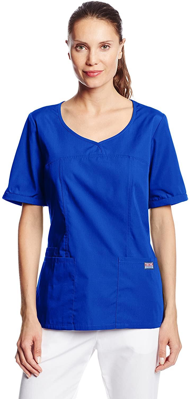 CHEROKEE Women's Workwear Scrubs V-Neck Top, Galaxy Blue, Small