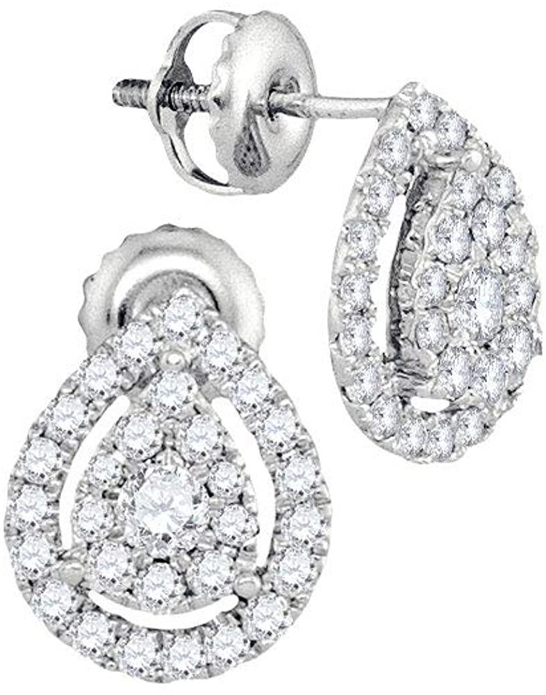 The Diamond Deal 14kt White Gold Womens Round Diamond Teardrop Stud Earrings 3/4 Cttw