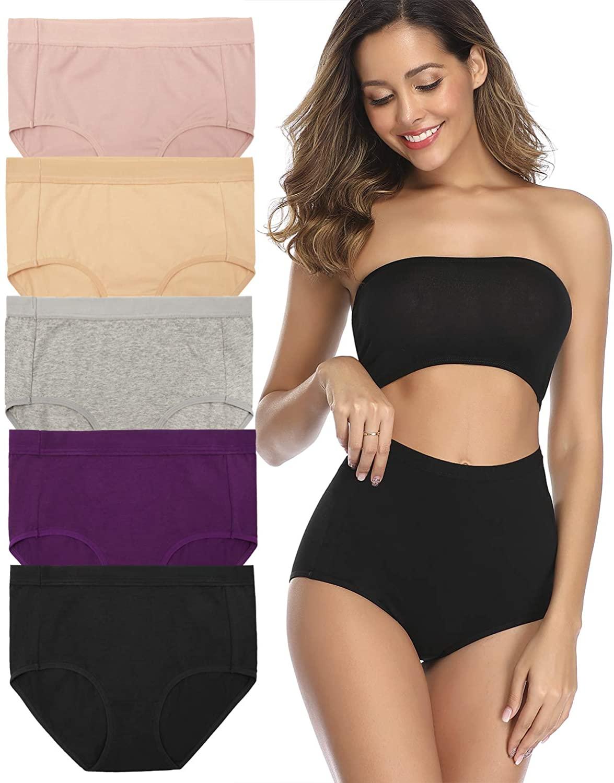 Stretch Women's High Waist Cotton Underwear Soft Classic Brief Panties Regular and Plus Size