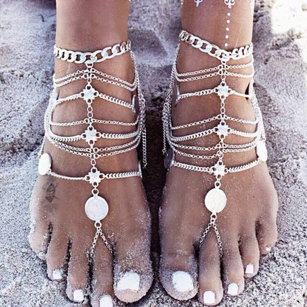 Jozape Boho Layered Anklets Punk Coin Tassel Ankle Bracelets Beach Foots Anklet Jewelry Accessory Adjuestable for Women and Girls (1 pcs) (Silver)