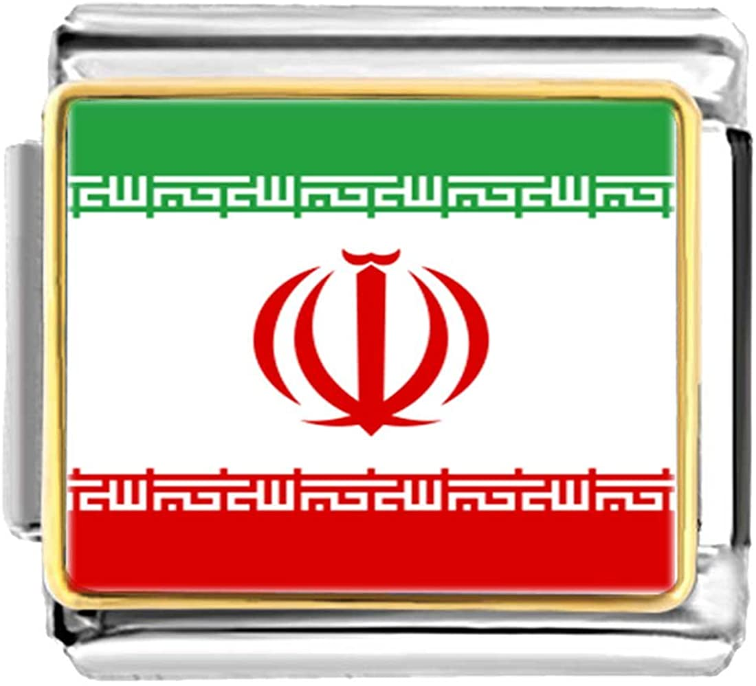 GiftJewelryShop Gold Plated Iran,Islamic Republic of Flag Bracelet Link Photo Italian Charm