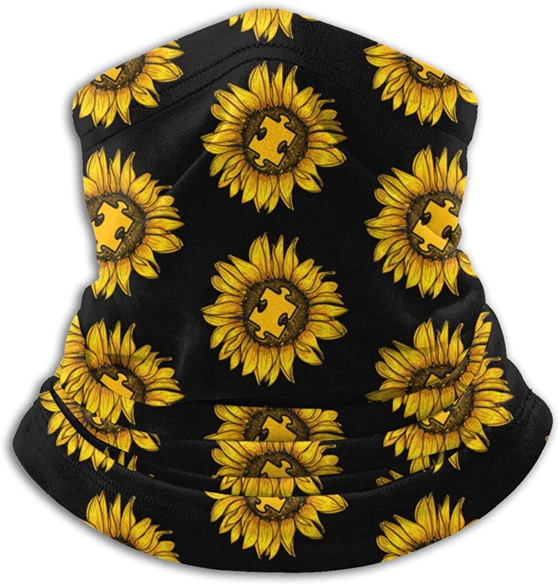 Love Sunflower Puzzle Autism Awareness Neck Gaiter Ear Warmer Headband Scarf Face Mask Bandanas