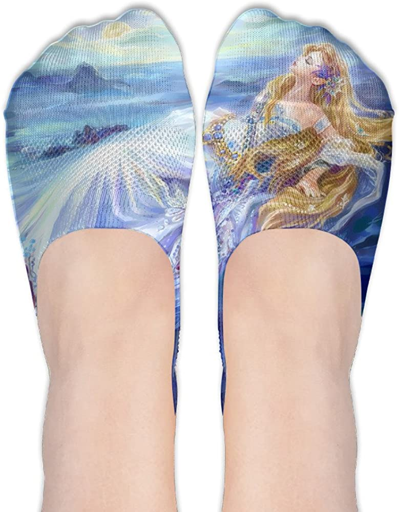 Women's Mermaid With Beautiful Long Blonde Hair CVC Socks For Boat Shoes Or Loafers Low Cut Socks