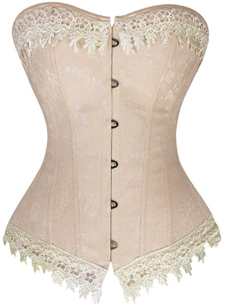 OMG Brocade Overbust Corset Waist Cincher Full Body Shapewear Top Bustier