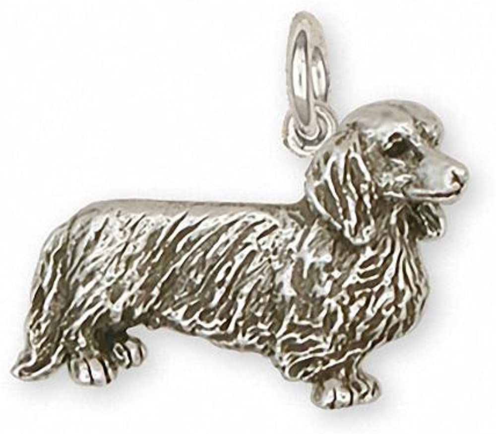 Long Hair Dachshund Charm Jewelry Sterling Silver Handmade Dog Charm DS9-C