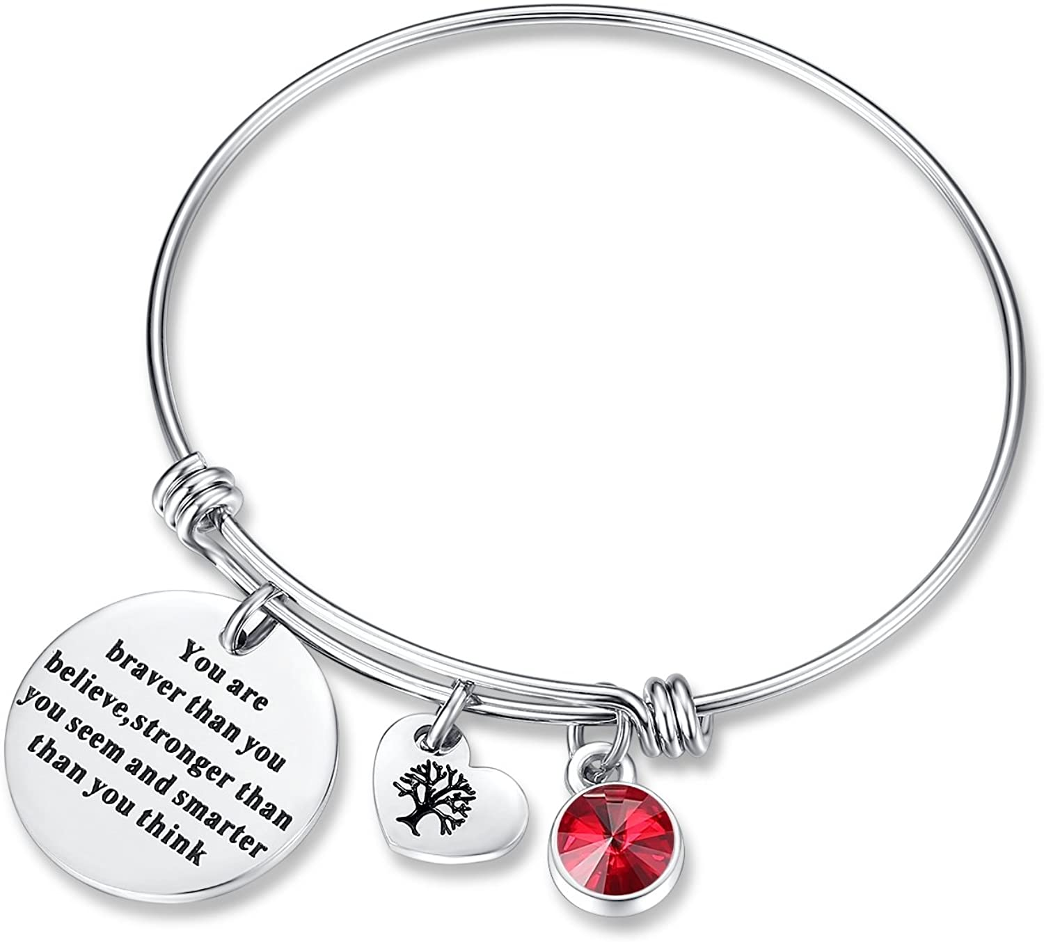 You are Braver Than You Believe Think Birthday Gifts Bracelet with Birthstone & Heart Tree of Life