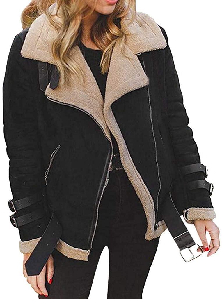 terbklf Womens Lapel Zip Up Faux Fur Shearling Fuzzy Fleece Outwear with Pockets Warm Lapel Biker Motor Aviator Jacket