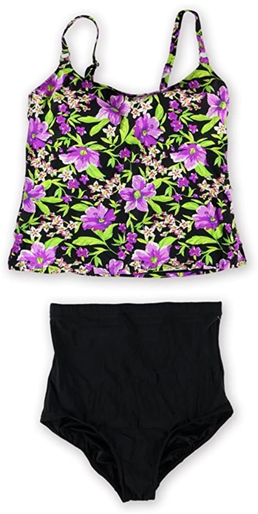Island Escape Womens Floral Hi Waist Brief 2 Piece Tankini