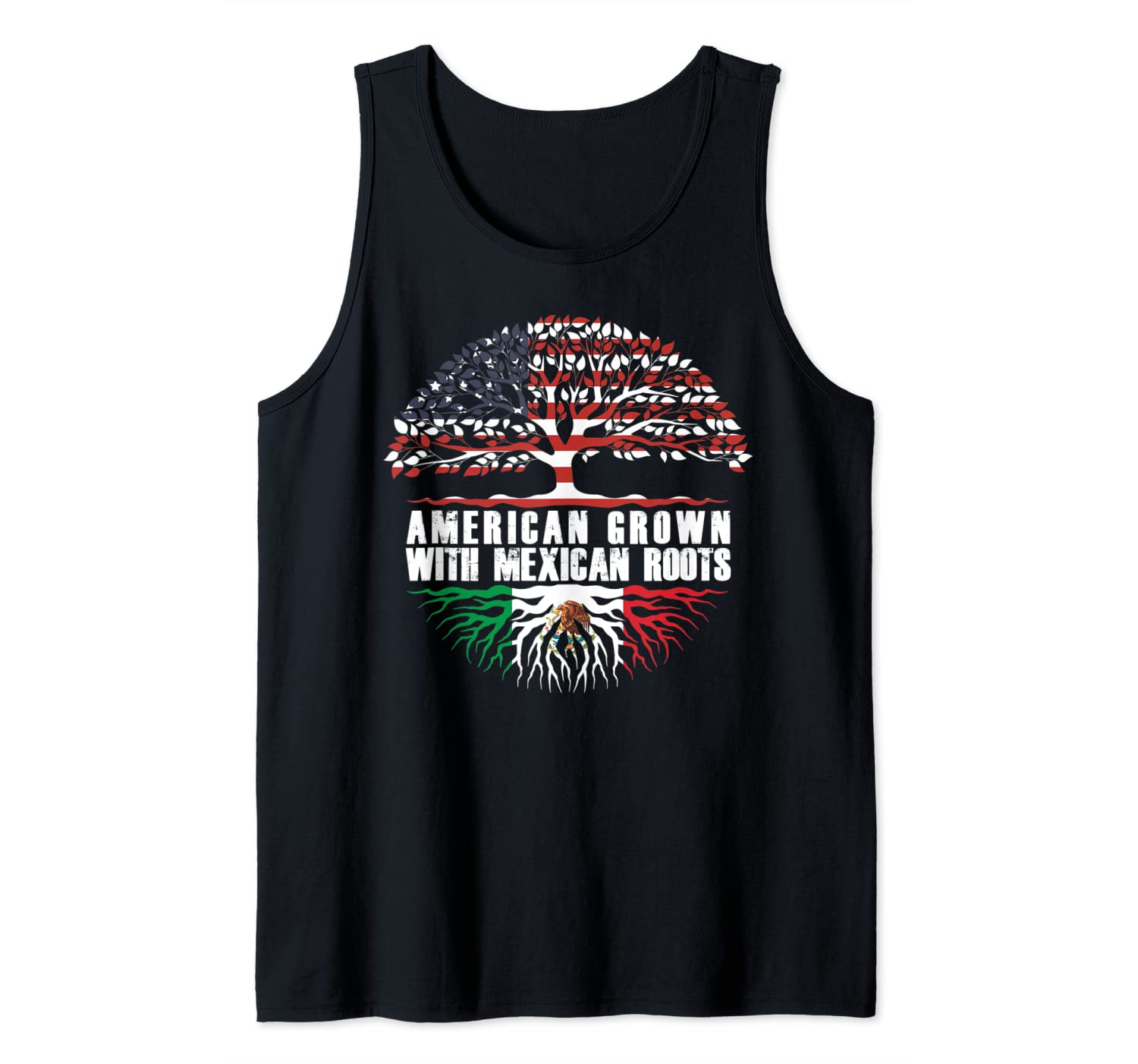 American Grown With Mexican Roots Mexican American Flag Tank Top