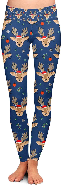 Yoga Leggings, Full Length, Low Waist - Twinkling Reindeer Blue