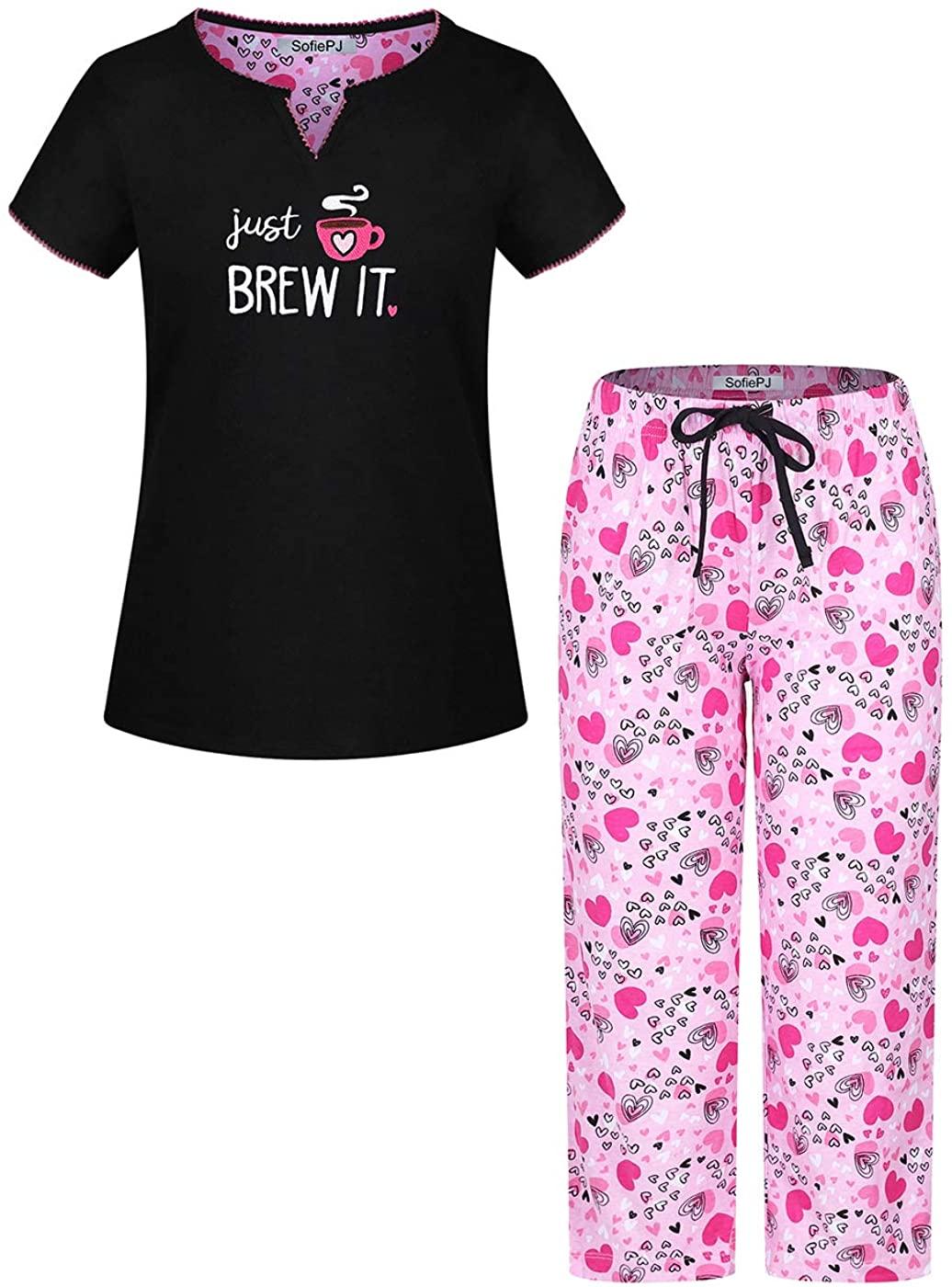 SofiePJ Women's Printed Short Sleeve Pure Cotton Sleepwear Capri Set