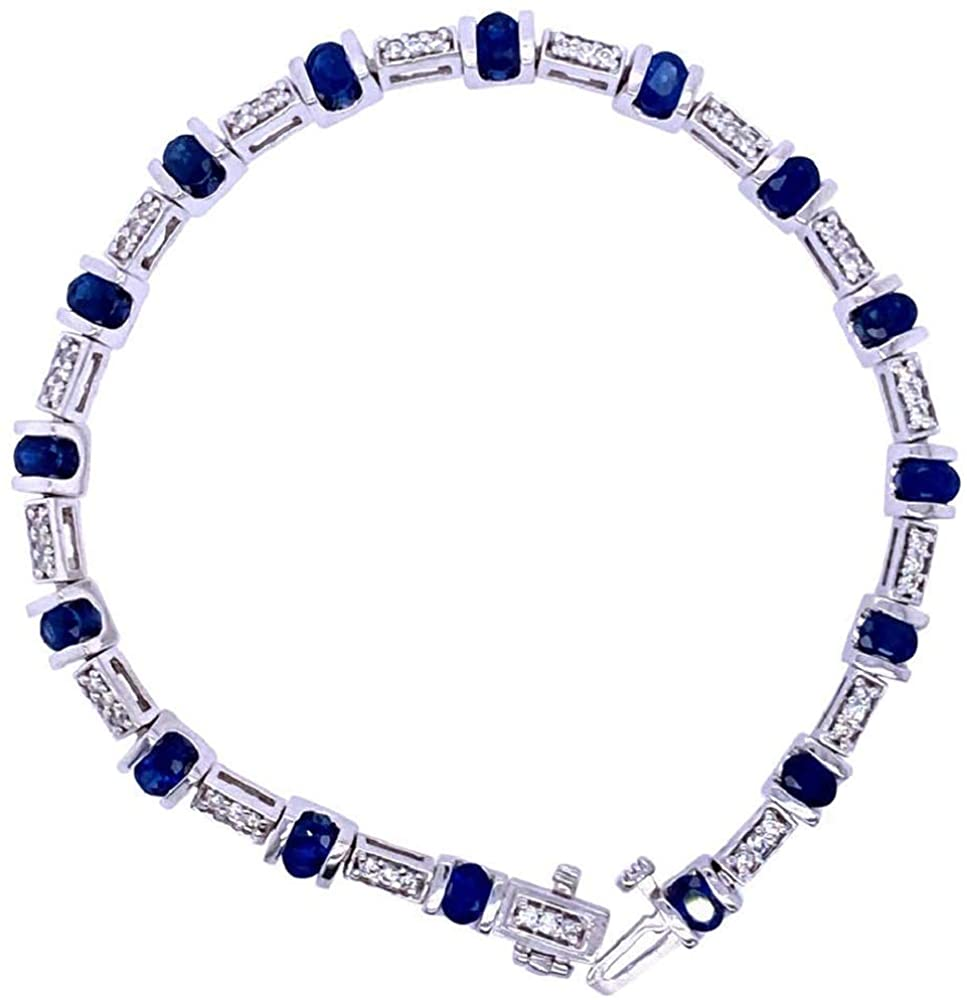 10.23 ct Round Style Blue Sapphire & White Simulated Round & Cushion Cut Tennis Bracelet In Open Box 14k Women's White Gold Plated