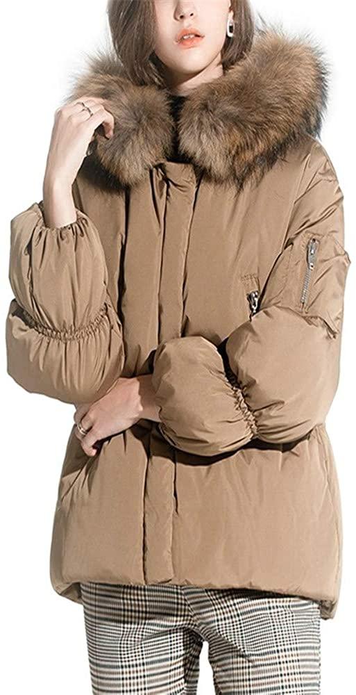 Dotoo Women Duck Down Hood Short Winter Puff Sleeve Collar Down Jacket Coat