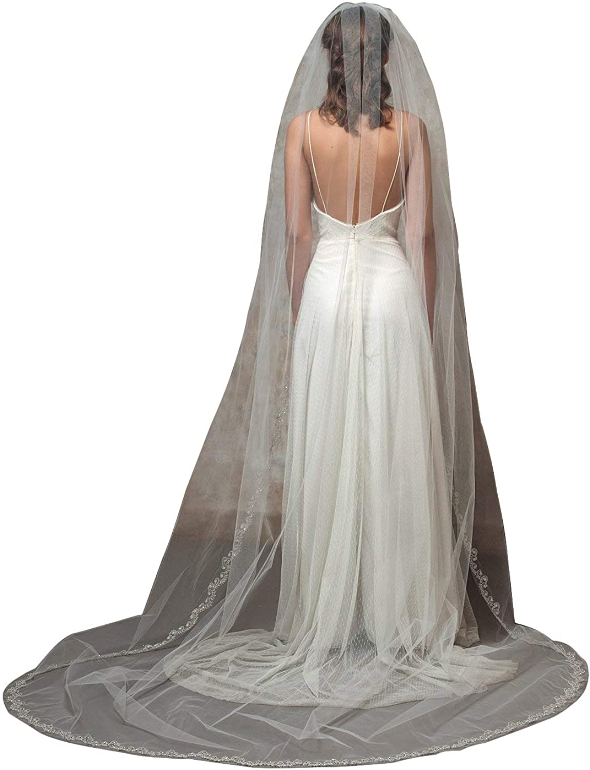Fenghuavip 1 Tier Appliques Crystal Edge Wedding Veil for Brides Cathedral Length