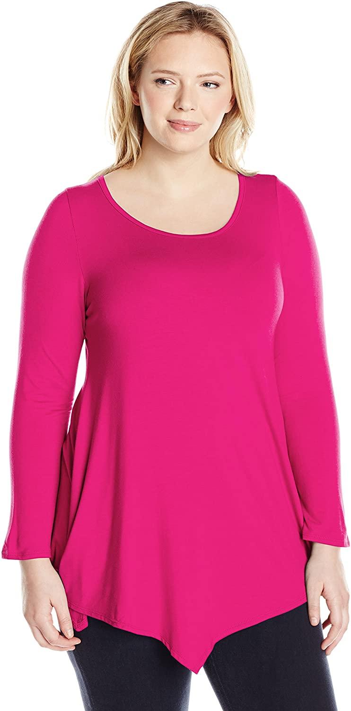Star Vixen Women's Plus Size Scoop Neck Long Sleeve Handkerchief Hem Comfy Knit Tunic Top