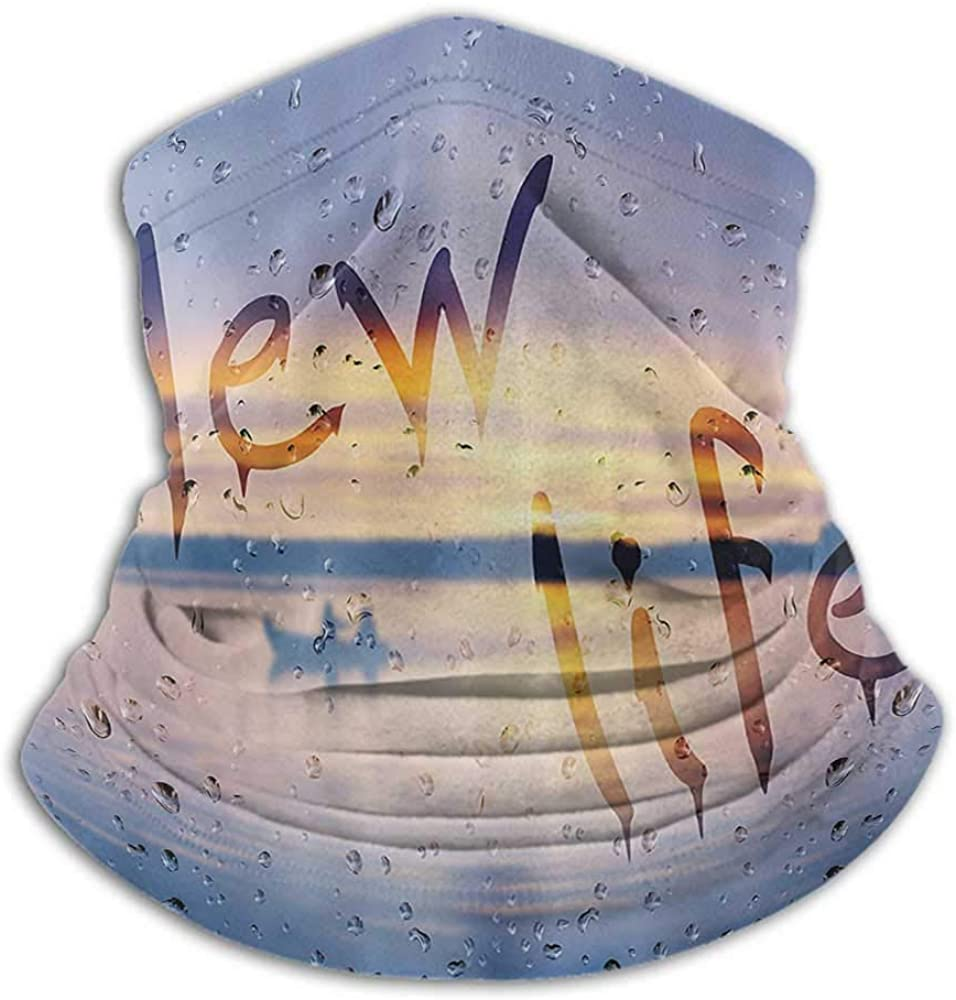 Face Scarf Lake House Decor Fishing Neck Gaiter Sun Protection Rain Drops and New Life Phrase on Wet Steamy Glass with Fishing Boat Art Photo Blue
