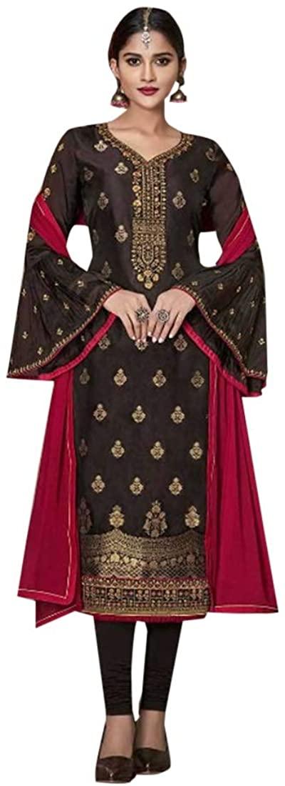 Brown Muslim Ethnic Party wear Pure Banglori Silk Bell Sleeves Salwar Kameez Suit Indian Women dress 8392