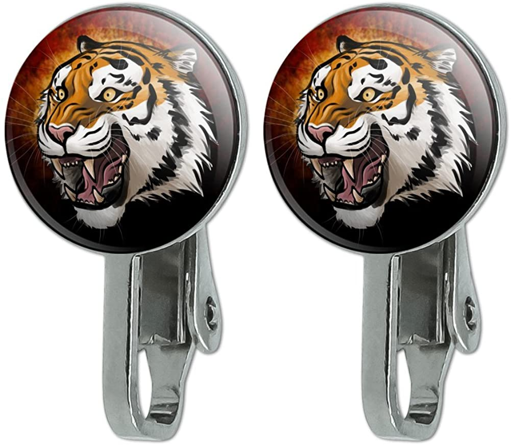 GRAPHICS & MORE Fierce Tiger Novelty Clip-On Stud Earrings