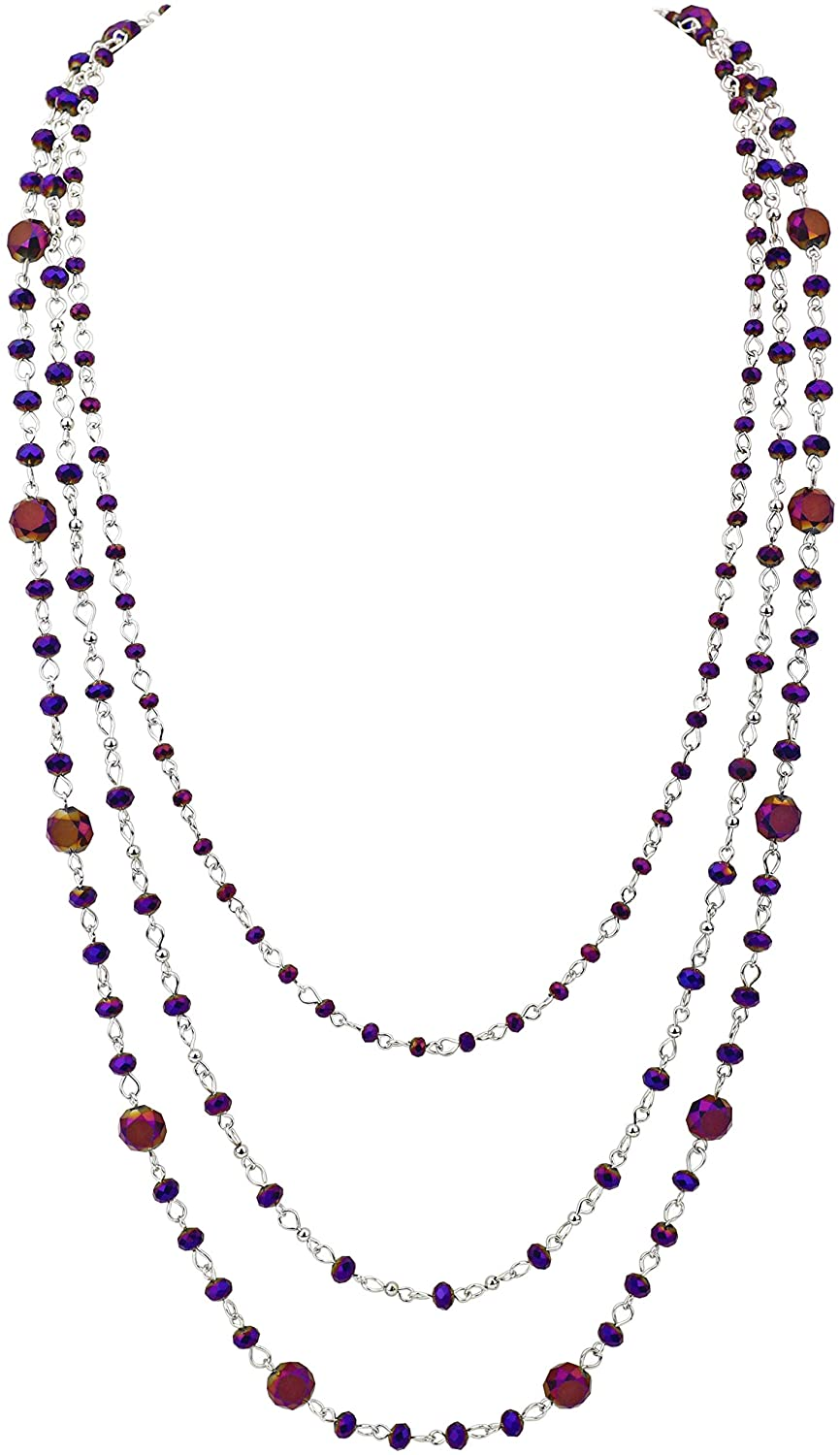 FIRSTMEET Long Chain Multi Layer Fashion Glass Beads Handmade Necklace