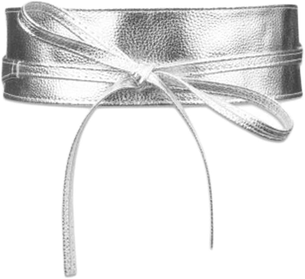 Fashion Bowknot Dress Waist Wide Sealing Belt Decent Skirt Belt, Silver