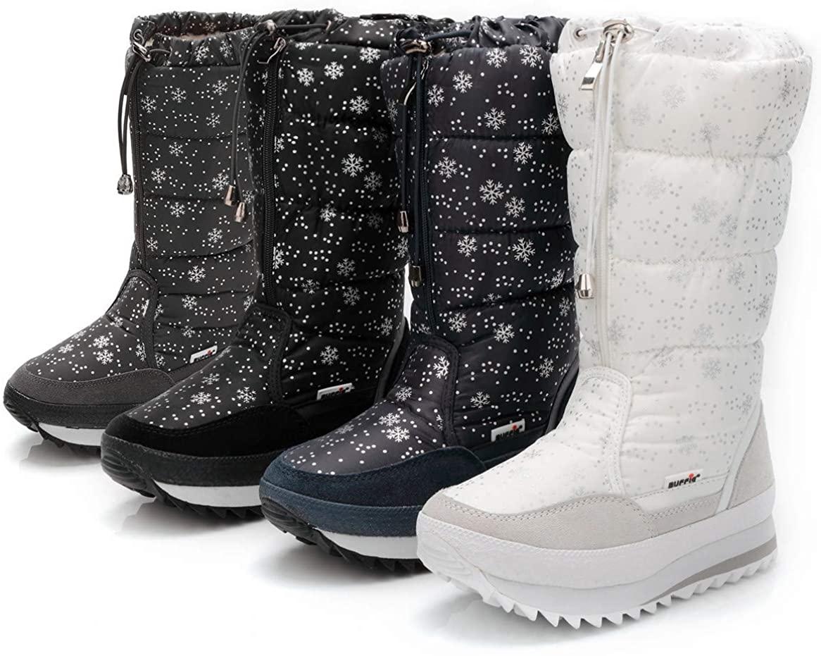 DADAWEN Women's Winter Waterproof Fur Lined Frosty Snow Boots