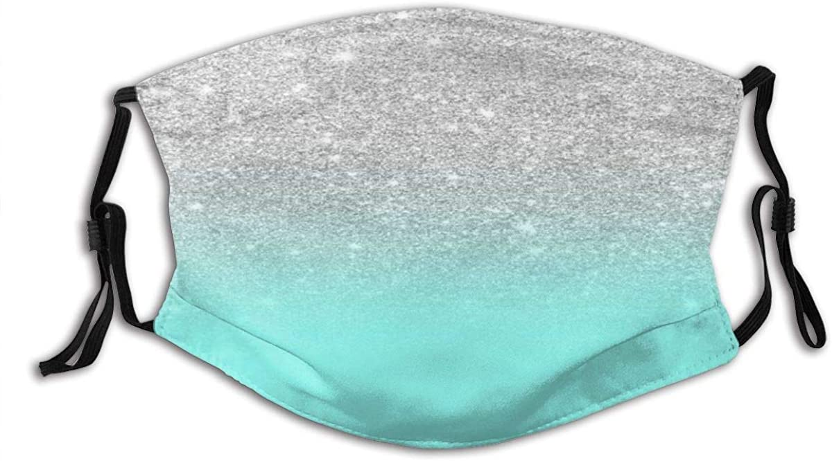 VAMIX Face Cover Modern Girly Faux Silver Glitter Ombre Teal Ocean Color Bock Balaclava Unisex Reusable Windproof Anti-Dust Mouth Bandanas Neck Gaiter with 2 Filters