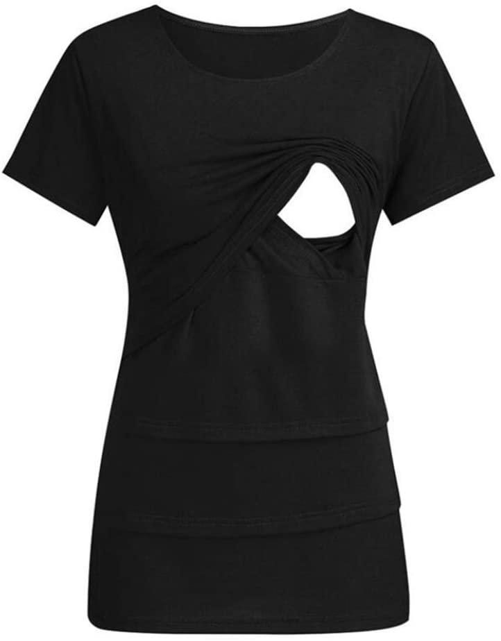 SHANGLY Women Nursing T-Shirt Tops Maternity Breastfeeding Short Sleeve Casual Clothes,E,L