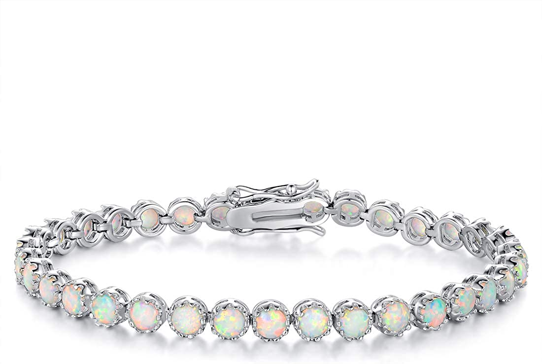MDFUN 18K White Gold Plated 5.0 Round Gemstone Tennis Bracelet, Fashion Jewelry Gift for Women and Girl -Opal and Larimar