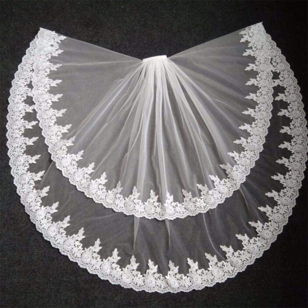 PSU Bride Wedding Two Layer Lace Edge Tulle Veil, Elegant Bridal Veils Accessories White Ivory Comb 0410 (Color : White)