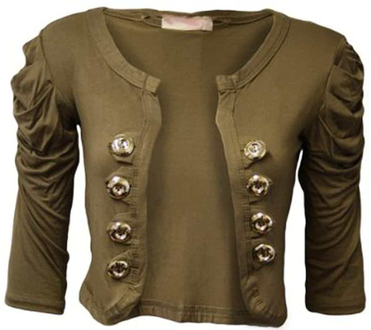FashionMark Womens Plain Short Sleeves Military Style Button Bolero Shrug Cardigan Top