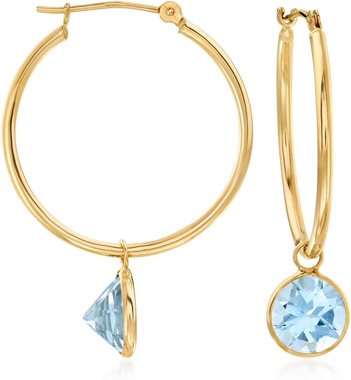 Ross-Simons 4.00 ct. t.w. Sky Blue Topaz Interchangeable Hoop Earrings in 14kt Yellow Gold