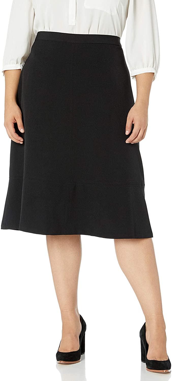 Kasper Womens Plus Size Stretch Flare Skirt