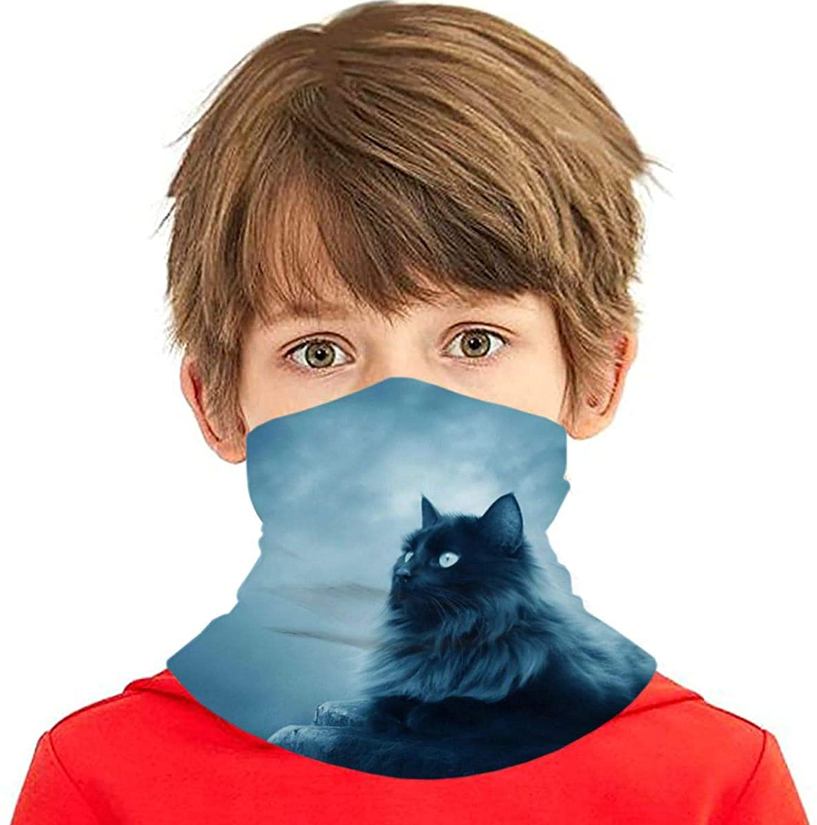 Youth Face Bandanas, Dark Cat Reusable Face Mask Half Face Towel Mouth Cloth Facial Scarf Variety Headscarf