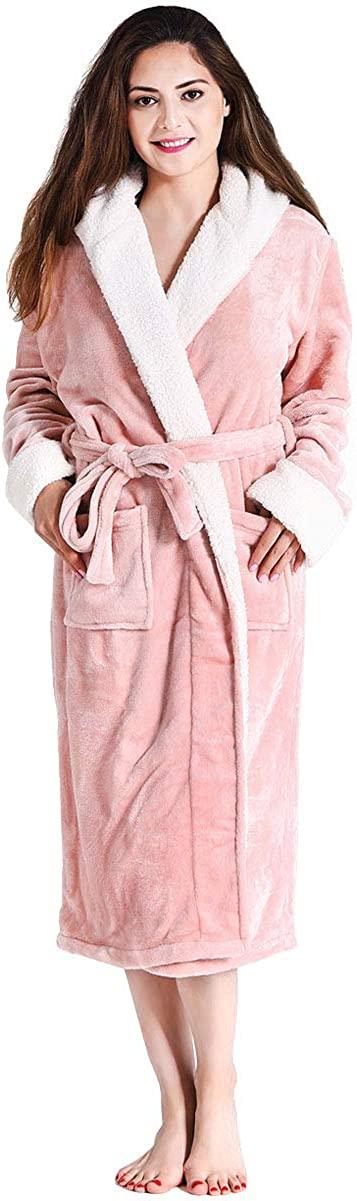 FINDOUX Women's Plush Robes with Hood Soft Fleece Robes for Women Long Thick Bathrobe Warm Plush Sleepwear