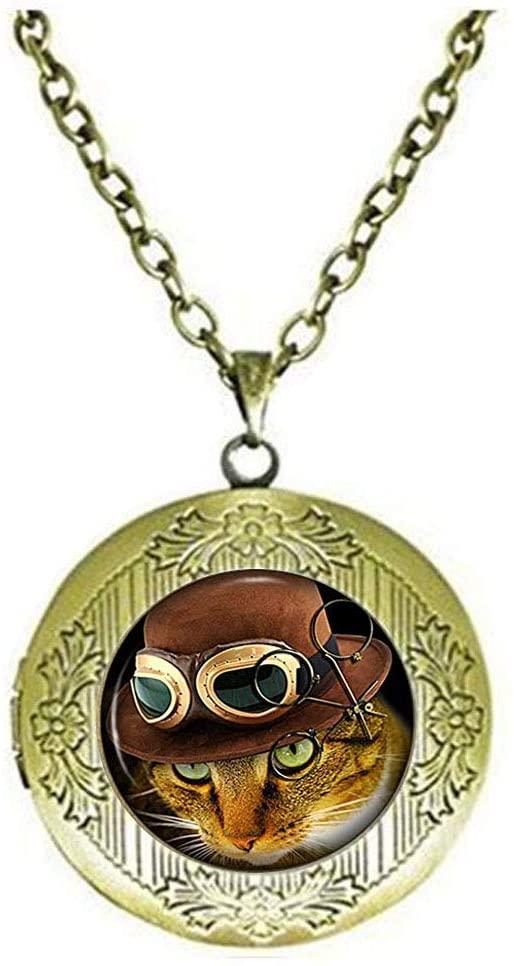 Steampunk Cat Locket Necklace, Unique Cat Jewellery for Women