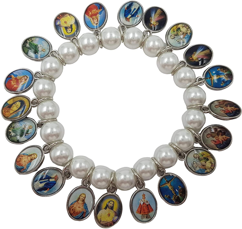 Treasure4U-Store Catholic Saints Charm Stretch Bracelet Pearl Simulated Beads Jesus Virgin Mary Medal Religious Gift