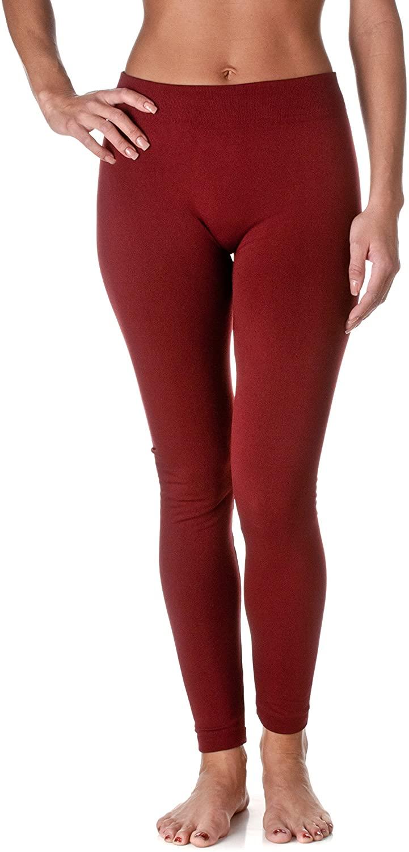 Fashion MIC Yelete Womens Fleece Lined Seamless Leggings (Wine Red, One Size)