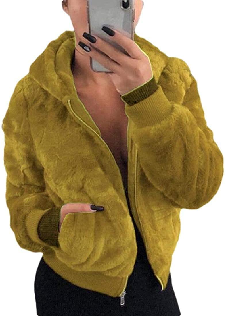 Jhsxydgy Fashion Women's Lapel Fleece Fuzzy Faux Shearling Zipper Coats Warm Oversized Outwear Jackets,2,Large