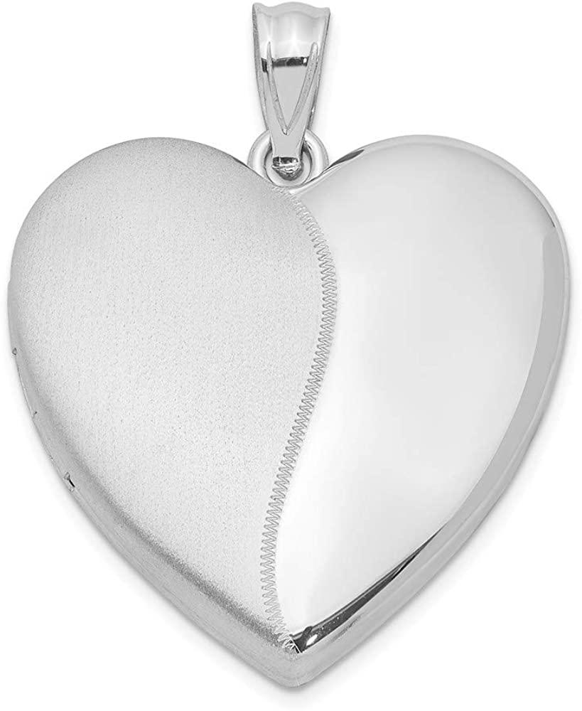 Solid 925 Sterling Silver 24mm Heart Locket Brushed Matte Finish Pendant - 31mm x 24mm