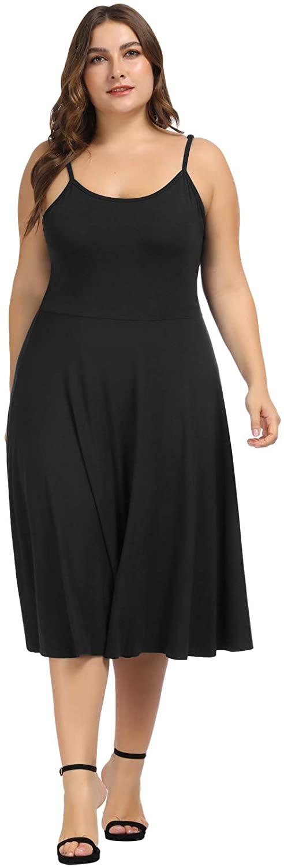Women's Plus Size Adjustable Spaghetti Straps Stretch Slip Midi A-line Dress