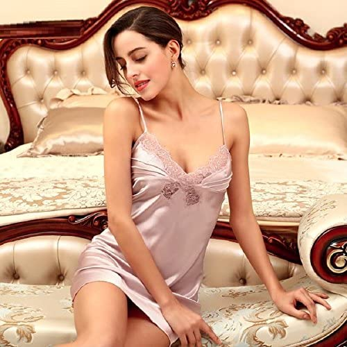 SS&LL Ladies Summer Pajamas Breathable Hollow Vest Imitation Silk Harness Sweet Pajamas Bathrobe,Gray,M