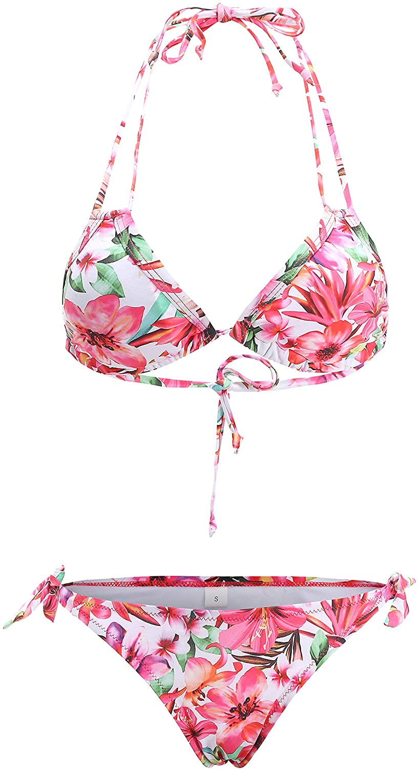 SSLR Women's Two Piece Swimsuit Flower Hawaiian Bikini Sets