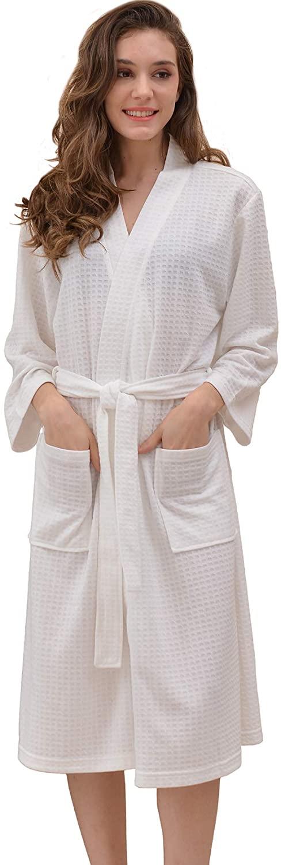 FAIRY COUPLE Womens Kimono Lightweight Waffle Mid-Length Robe