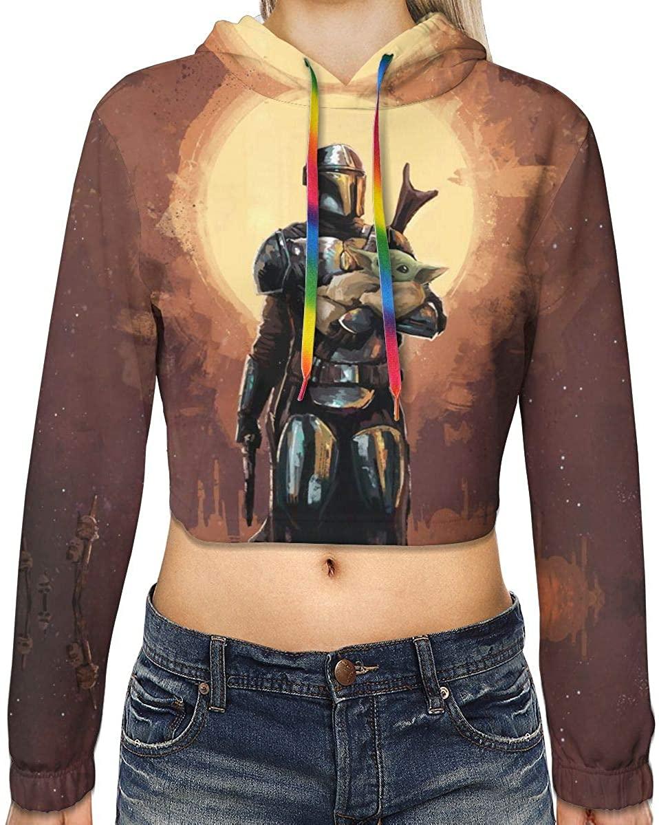Movie Mandalorian Cropped Hoodie Casual Printed Sweatshirt Shirt Tops Crop Top Hoodies for Women-Large Black