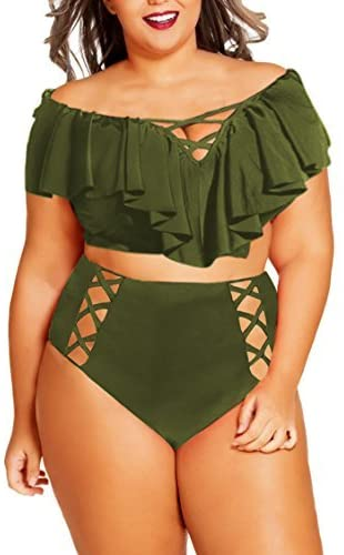 CAOBANREN Women Plus Size Ruffles High Waisted Swimsuit Bikini Sets Bathing Suit