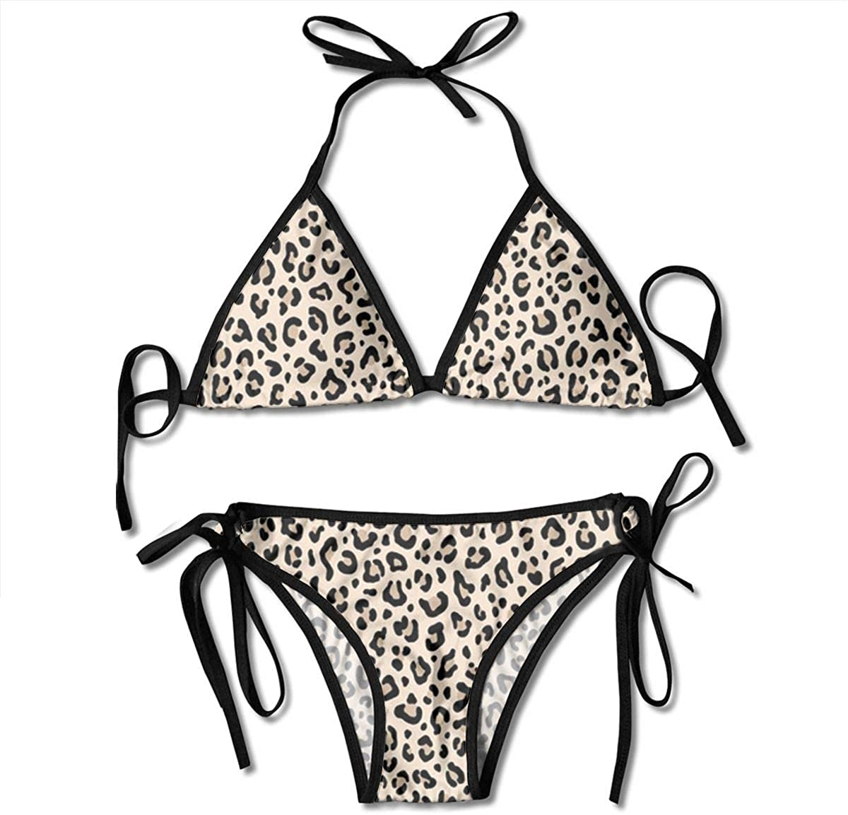 Black and White Animal Leopard Spots Print Padded Push Up Bikini Set Two Piece Swimsuit Beach Bathing Suits for Women Girls Sexy