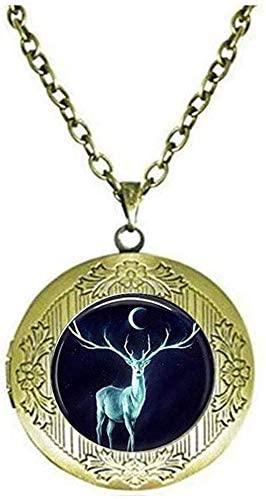 Deer Locket Necklace Moon Jewelry Locket Necklace Glass Tile Jewelry Animal Jewelry Deer Jewelry