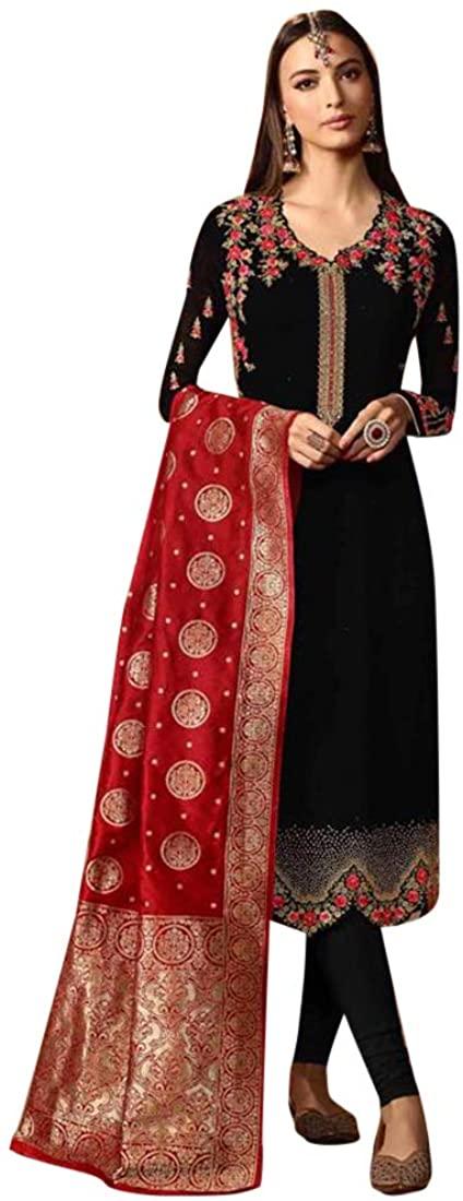 Black Evening Festive Party Women wear Satin Silk Indian Churidar Salwar Kameez Suit Free size 8204