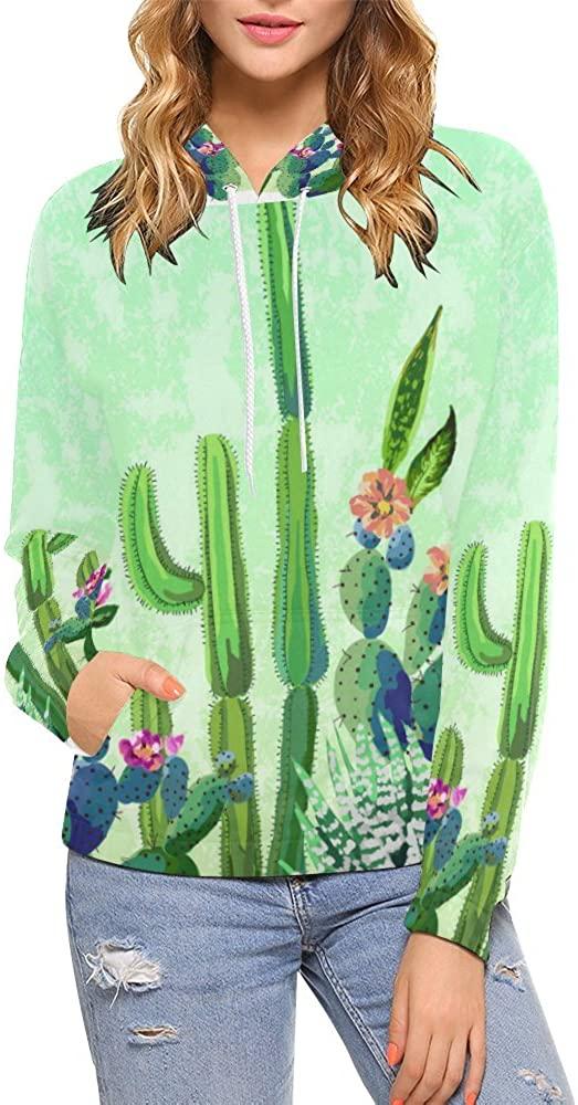 INTERESTPRINT Custom Watercolor Cactus Flower Women's Pullover Hoodies Sweatshirt M